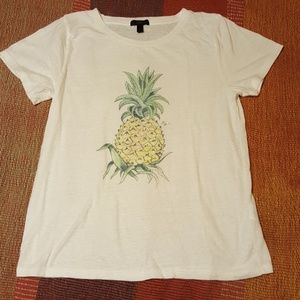 J. Crew White Tee With Pineapple Graphic